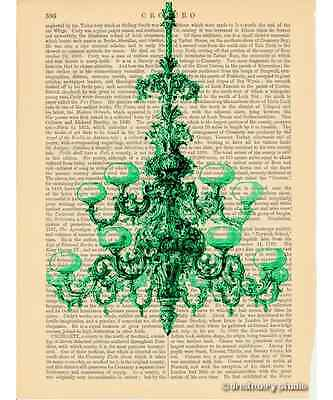 Green Chandelier Art Print on Antique Book Page Vintage Illustration Fixture