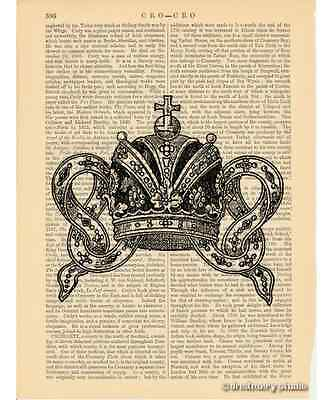 Crown #1 Art Print on Antique Book Page Vintage Illustration Tiara King Queen
