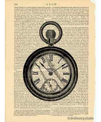 Pocket Watch Art Print on Antique Book Page Vintage Illustration Timepiece Time