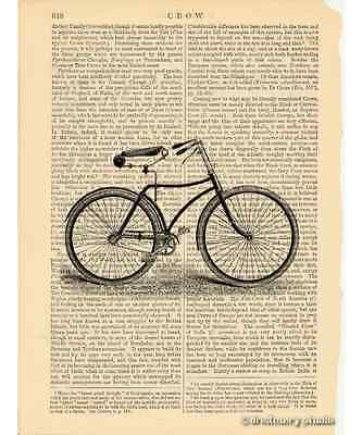 Bicycle #1 Art Print on Antique Book Page Vintage Illustration Bike Wheels