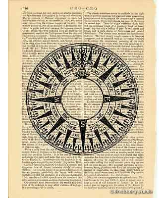 Compass Rose #1 Art Print on Vintage Book Page Marine Nautical Home Decor Gifts 2