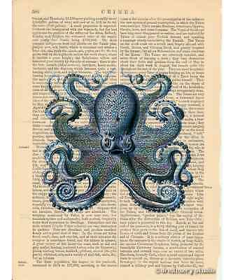 Blue Octopus #5 Art Print on Antique Book Page Vintage Illustration Tentacles