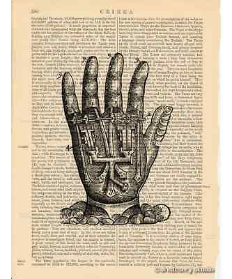 Mechanical Hand Art Print on Antique Book Page Vintage Illustration Machine