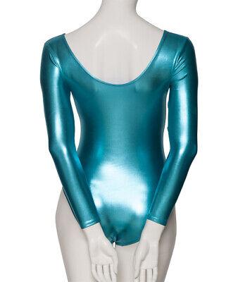 Turquoise Shiny Metallic Dance Long Sleeve Leotard Katz Dancwear KDC029 SECONDS 2