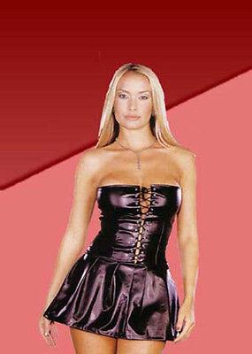 1 erotisches schwarzes dehnbares Maids Dress mit Schürze Einheitsgröße M