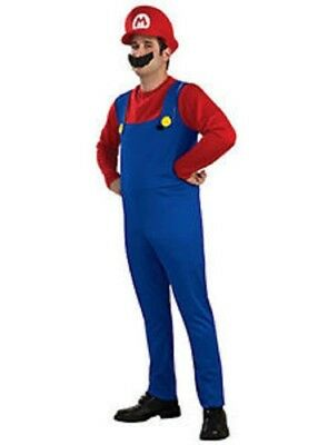 SUPER MARIO and LUIGI BROS PLUMBER ADULT MENS COSTUME + HAT & MOUSTACHE SMALL-XL 2