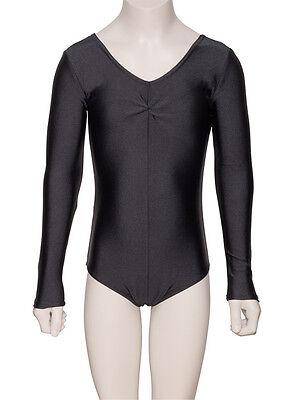 Nero Balletto Danza Ginnastica Con ruche Manica Lunga Body In Licra KDC009 3