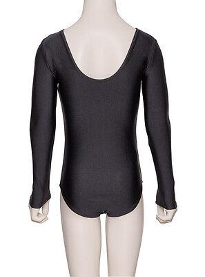 Nero Balletto Danza Ginnastica Con ruche Manica Lunga Body In Licra KDC009 4