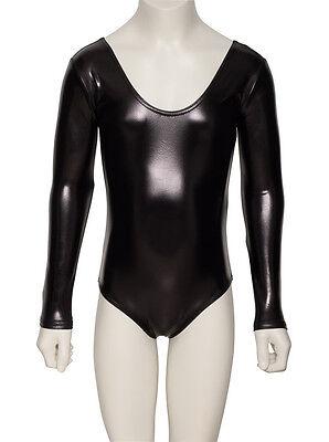 KDC029 Nero Lucido Metallizzato Body Manica Lunga Danza Costume Da Halloween 3