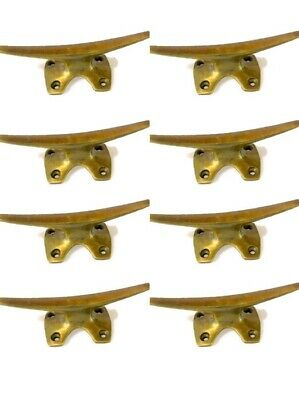 8 small CLEAT tie down heavy brass boats cars tieing rope hooks cast cleats B 7