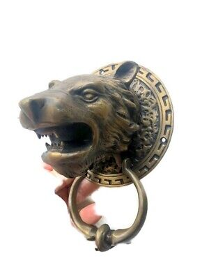 LION TIGER head old heavy front Door Knocker SOLID BRASS vintage antique style B 10