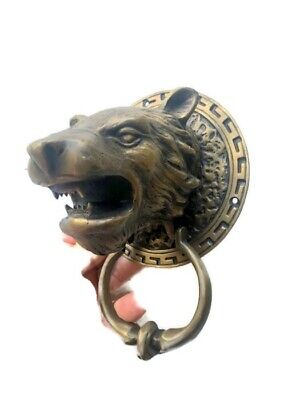 LION TIGER head old heavy front Door Knocker SOLID BRASS vintage antique style B 9