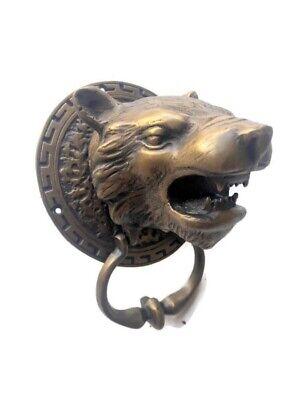 LION TIGER head old heavy front Door Knocker SOLID BRASS vintage antique style 12