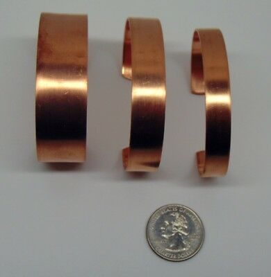 "Pure Raw COPPER CUFF Bracelet Blanks 1/4"" 3/8"" 1/2"" 3/4"" wide ~As-is / Embellish 6"
