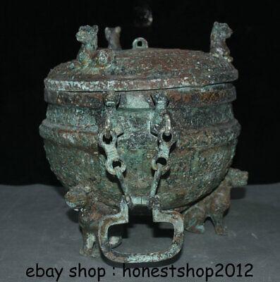"14 ""Chinesische Dynastie Antik Bronze Ware 3 Tier Griff Kette Pot Jar Crock 3"