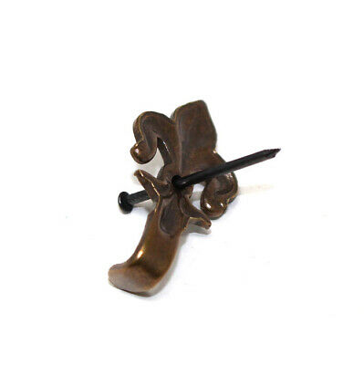 FLEUR DE LYS BRONZE 50mm PICTURE FRAME HOOKS WITH HARDENED PINS HANGING HANG 4