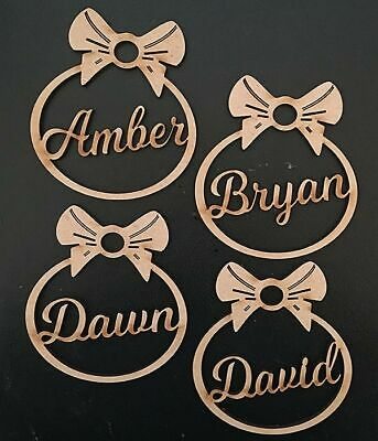 Personalised Christmas Tree Decoration Baubles Wooden Shapes gift tags Xmas 8