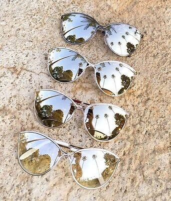 Modern Large Lilliana Cat Eye Metal Aviator Chrome Silver Mirror Sunglasses 7751