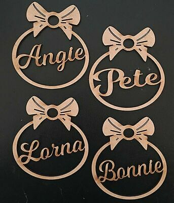 Personalised Christmas Tree Decoration Baubles Wooden Shapes gift tags Xmas 3