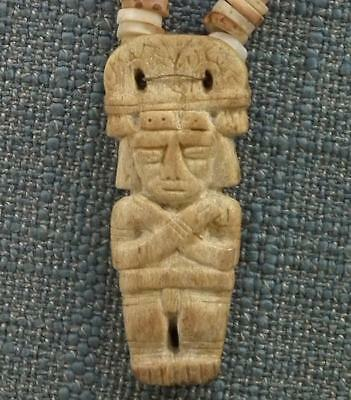 Antique Pre-Columbian 500-1500 A.D. Tairona Necklace Pendant With Priest Figure 4