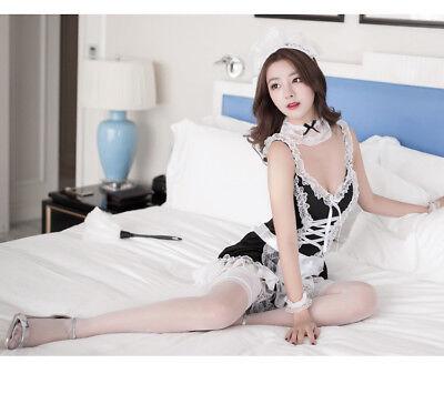 Vestito Costume Completo Cameriera Maid Serva Sexy Lingerie Calze Velate Pizzo 7