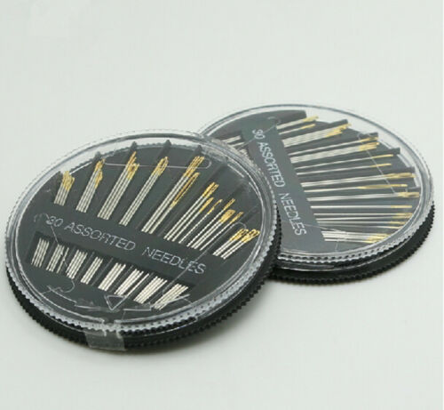 30pcs Craft Quilt Sew Case Assorted Hand Sewing Needles Embroidery Mending Gold