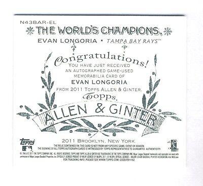 Evan Longoria 2011 Topps Allen Ginter Box Topper Auto Jersey 25