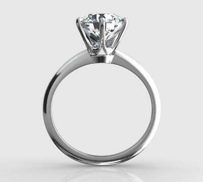 2 Ct Real Natural Diamond Engagement Ring Round Cut D Si1 14K White Gold 3