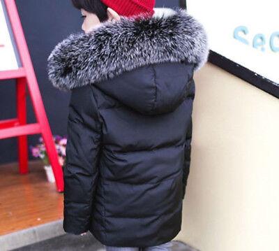 12a80ad6f2c3 BOYS KIDS WINTER Retro Padded Parka Jacket Fur Hood Cotton Down Coat ...