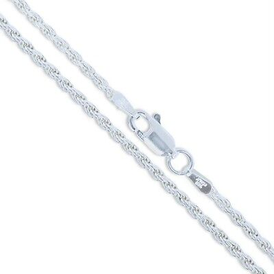 Sterling Silver Necklace Diamond-Cut Rope Chain 2mm 925 2