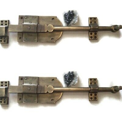 """2 large heavy 12 """" large slide Bolts french old style doors very solid 30cm B 4"""