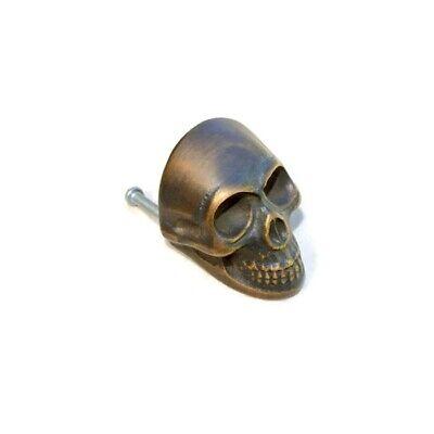 4 medium Skull hardware cabinet Drawer 4cm Gothic Finger Pull Solid age Brass B 5