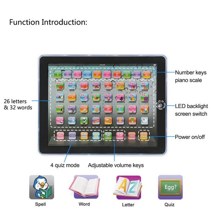 Baby Tablet Educational Toys Kids For 1-6 Years Toddler Learning English Gift