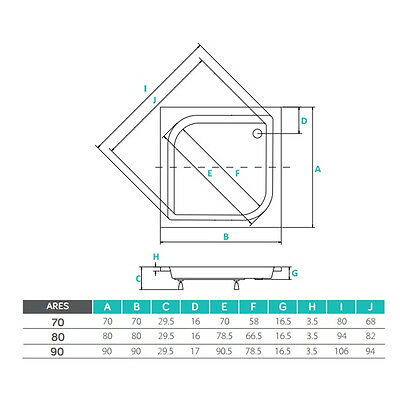 VBCbad® Duschwanne ARES Dusche Acryl Füße Schürze L-Form 70x70 80x80 90x90 AP50