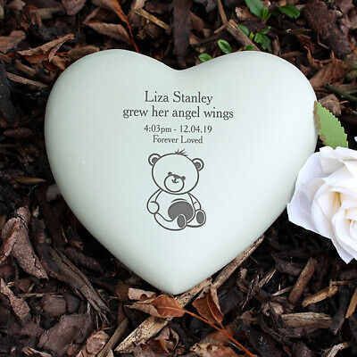 Personalised Infant Baby Memorial Teddy Bear Heart Grave Garden Marker Cemetery 3