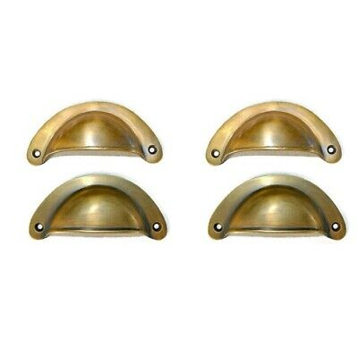 """4 heavy shell shape pulls handle antique solid brass vintage 4"""" vintage style B 2"""