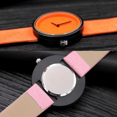 Simple Unisex Men Womens Canvas Strap Roman Number Quartz Analog Wrist Watch 5