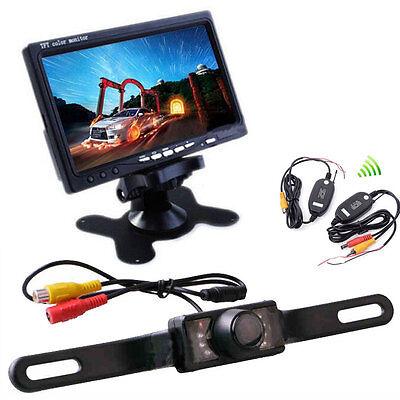 """7"""" TFT LCD Monitor + Wireless Car Rear View Backup Parking Camera Night Vision 3"""