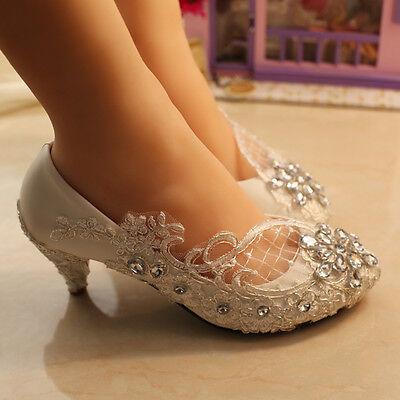 e41c1c6c0e4d ... 10 Lace white ivory crystal Wedding shoes Bridal flats low high heel  pump size 5-12
