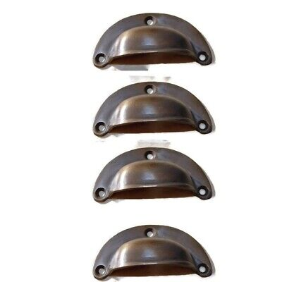 6 small shell shape pulls handles solid brass vintage aged drawer 6.6cm B 2