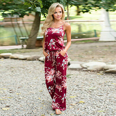 Boho Womens Floral Holiday Long Playsuits Dress Summer Beach Jumpsuit Plus Size 5