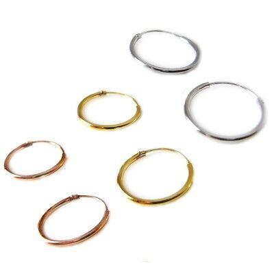 Orecchini Cerchio Argento 925  Oro - Rodio - Oro Rosa da 8 a 50 mm