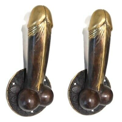 "2 PENIS erect DOOR PULL HOOK medium heavy aged brass 7 "" handle shop display B 6"