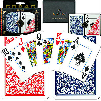 COPAG 1546 Plastic Playing Cards Poker Size Jumbo Index Red Blue Free Gift 2