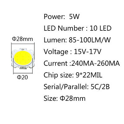 COB LED 5W 320mA DC15-17V BIANCO CALDO WARMWHITE 2700-3000K 500LM