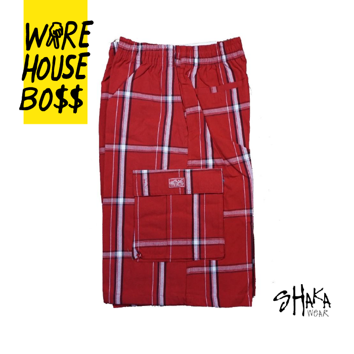 Shaka Mens Casual Cargo Shorts Plaid Shorts Loose Fit Checkered Hip Hop Shorts 10