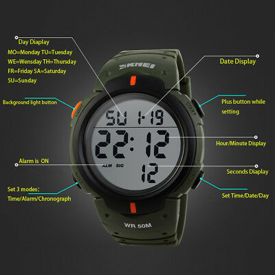 Men's Digital Sports Watch LED Screen Large Face Military Waterproof Watches 9
