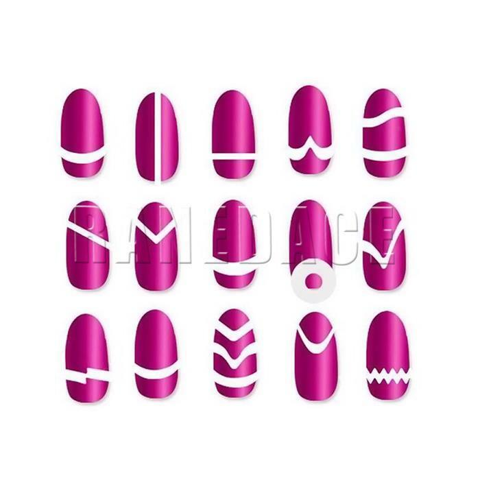 MANICURE NAIL FRENCH Tip Guides Form sheets-line 505 Nail art Beauty ...