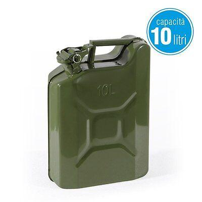 TANICA METALLO benzina acciaio omologata lt 10 carburante contenitore diesel