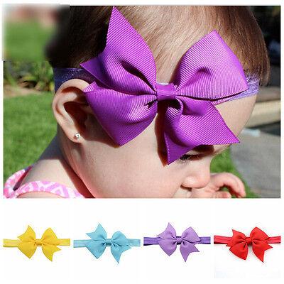 Newborn Baby Girl Toddler Kids Hair Bow Hair Band Headband Grosgrain Ribbon 2